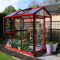 Prestige Piccolo, lackerat-Växthus Piccolo med röd aluminiumstomme