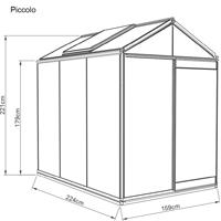 Prestige Piccolo, Måttskiss växthus Piccolo