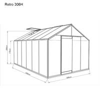 Måttskiss växthus Retro 13,6 kvm