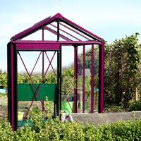 växthus Piccolo 3 i färg purpur aluminium med 4mm säkerhetsglas