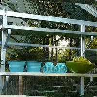 Set med två aluminiumhyllor 86 x 15 cm-Set med två aluminiumhyllor 86 x 15 cm till växthus
