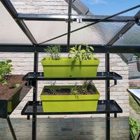 Set med två aluminiumhyllor 86 x 15 cm svart-Set med aluminiumhyllor till växthus 86 x 15 cm, svart