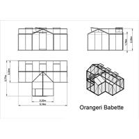 Orangeri Babette 15,4 kvm, Måttskiss växthus Orangeri Babette, 15,4 kvm