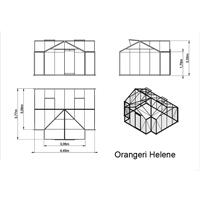 Måttskiss växthus Orangeri Helene, 15,8 kvm