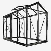 Växthus i pulverlackerad aluminium med 4mm säkerhetsglas