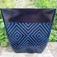 Mosaic Square Planter, Blå-Lättviktskruka i fiberclay Mosaic Square Planter Blå