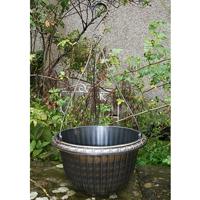 Ampel, Fluted Hanging basket, svart/guld-Ampel Fluted Hanging Basket, svart/Guld