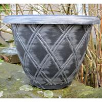 Bell Lattice Planter, svart/silver-Lättviktskruka Bell Lattice Planter Svart/silver