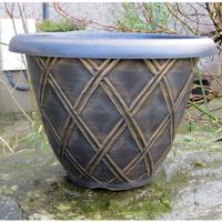 Bell Lattice Planter, svart/guld-Lättviktskruka Bell Lattice Planter Svart/guld