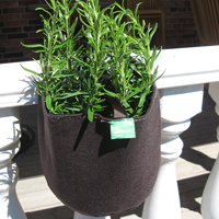Filtkruka räcke rund,  Rund kruka i filt för odling på balkong och terrass