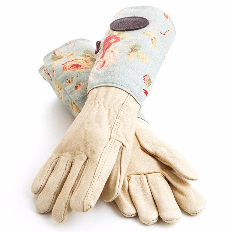 Trädgårdshandskar i mocka och vaxat linne, blå-Trädgårdshanske i skinn med rosmönster på blå botten