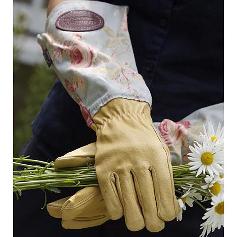 Trädgårdshandskar i mocka och vaxat linne, blå, Trädgårdshandskar i vattentåligt skinn med vaxat linne