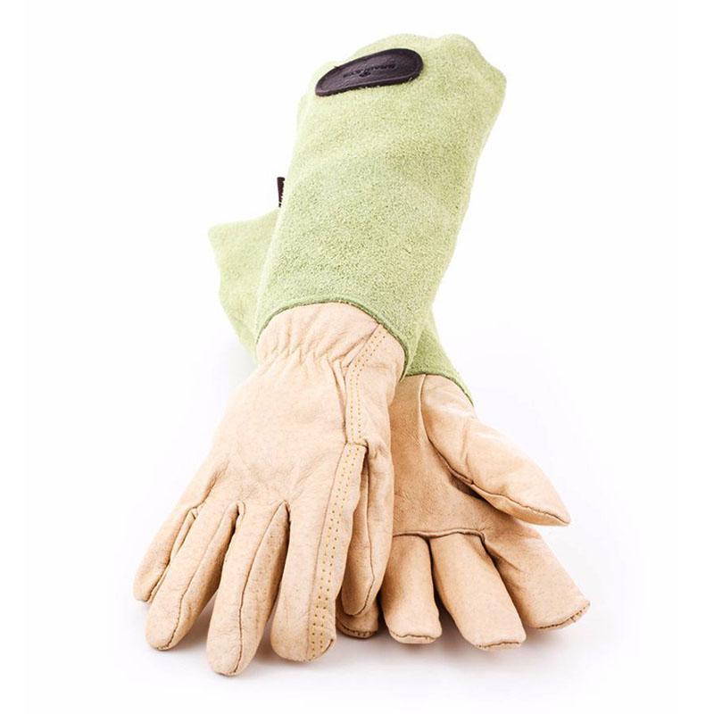 Skinnhandskar  med mockaskaft, gröna, strl 7,5-Trädgårdshandskar i skinn och mocka för rosbeskärning mm
