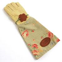 Trädgårdshandskar i mocka och vaxat linne, gröna, Trädgårdshandske i skinn med högt skaft