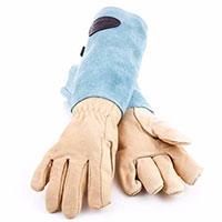 Skinnhandskar med mockaskaft, blå strl 7,5-Trädgårdshandskar i skinn och mocka med högt skaft, blå