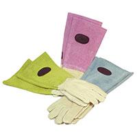 Skinnhandskar med mockaskaft, rosa strl 7,5, Trädgårdshandskar med högt skaft för rosbeskärning mm