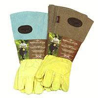 Trädgårdshandskar med mockaskaft, brun strl 7,5, Trädgårdshandskar med långt skaft i mocka och skinn