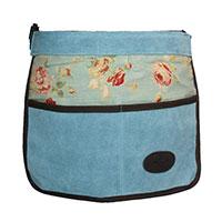 Trädgårdsförkläde i mocka och vaxat linne, blått-Trädgårdsförkläde i mocka med vaxat linne med rosmönster