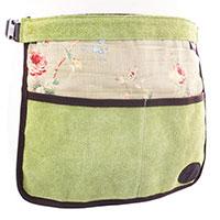 Trädgårdsförkläde i mocka och vaxat linne, grönt-Trädgårdsförkläde i mocka/vaxat linne med rosenmönster