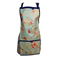 Trädgårdsförkläde fullängd, blått-Trädgårdsförkläde i rosmönster med vattentät beläggning