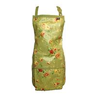 Trädgårdsförkläde fullängd, grönt-Trädgårdsförkläde i rosmönster med vattentät beläggning