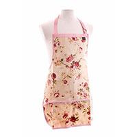 Trädgårdsförkläde fullängd, rosa-Trädgårdsförkläde i rosmönster med vattentät beläggning