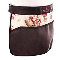 Floral, trädgårdsförkläde läder/linne, brunt-Trädgårdsförkläde i mocka med praktiska fickor