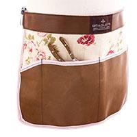 Floral, trädgårdsförkläde läder/linne, tan-Trädgårdsförkläde i mocka med praktiska fickor