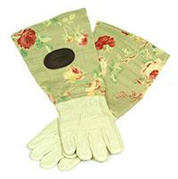 Trädgårdshandskar i mocka och vaxat linne, gröna, Roshadske med rosmönstrat skaft i vaxat linne
