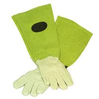 Skinnhandskar  med mockaskaft, gröna, strl 10-Trädgårdshandskar i skinn och mocka för rosbeskärning mm