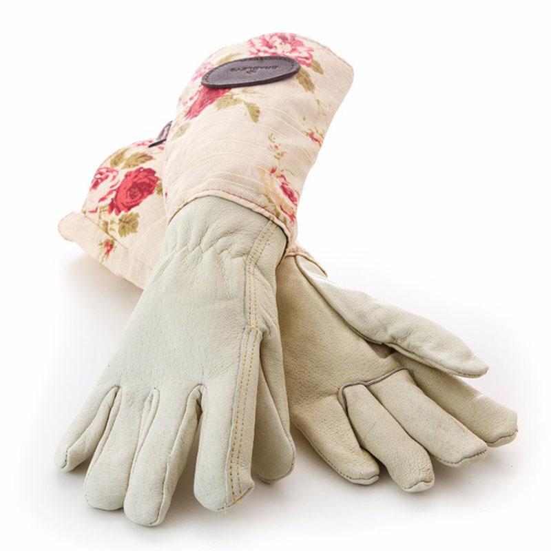 Handskar i skinn med vaxat linne - Creme-Trädgårdshandske i vattentätt skinn med skaft i vaxat linne, rosa