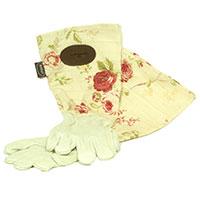 Handskar i skinn med vaxat linne - Creme, Vattentät trädgårdshandske i skinn med rosmönster i vaxat linne, rosa