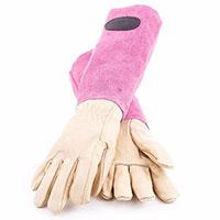 Skinnhandskar med mockaskaft, rosa strl 10-Trädgårdshandskar i skinn och mocka med högt skaft, cerise/rosa