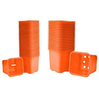 Plastkruka Orange, 8 cm-Fyrkantig odlingskruka, orange