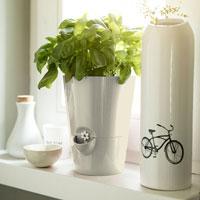 Automatvattnande Örtkruka Fresh Herbs 13x17 cm, silkesgrå