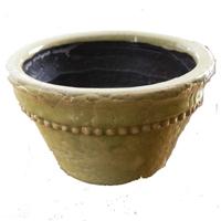 Sedonia plantskål grön - small-Plantskål i grön keramik
