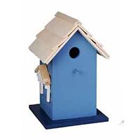 Fågelholk i trä, blå-Fågelholk modellhus blått