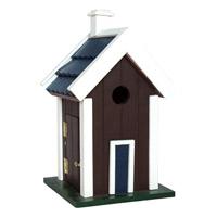 Fågelholk i trä, brun-Fågelholk modellhus brun