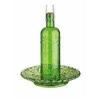 Fågelmatare flaska, grön-Fågelbord i pressglass - grönt