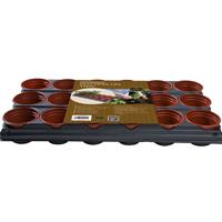 Krukbrätte med 18 krukor, brätte med terrarkottafärgade plantkrukor