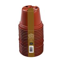 Runda terrakottafärgade krukor, 9cm - 18-pack-Runda plastkrukor 9cm - 18.-pack