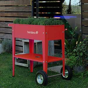 Odlingsvagn Urban Garden Trolley, färg röd med timjanplantor