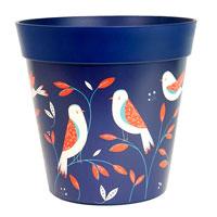 Ytterkruka i tålig plast md fågelmotiv, blå, 7,5 liter