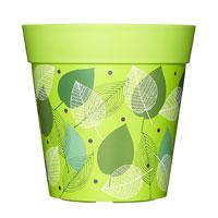 Kruka med bladmotiv, grön, 5L-Grön ytterkruka med grönt bladmotiv i tålig plast.