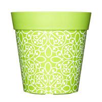 Kruka med bohemiskt motiv, limegrön, 5L-Limegrön ytterkruka med bohemiskt motiv i tålig plast.