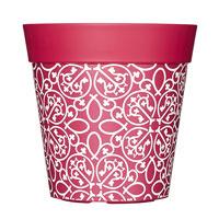 Kruka med bohemiskt motiv, rosa, 5L-Rosa ytterkruka med bohemiskt motiv i tålig plast.