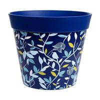 Kruka med botaniskt motiv, blå, 7,5L-Blå ytterkruka med botaniskt motiv tålig plast på 7,5 liter.