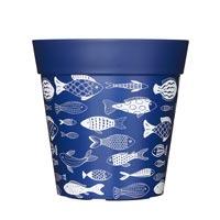 Kruka med fiskemotiv, Blå 5L-Kruka med fiskemotiv 5 liter