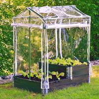 Drivhus DeLux för odlingslåda, grön/vit-Pallkrageväxthus för odlingskrage och friland