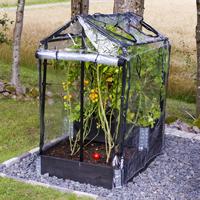 Drivhus DeLux för odlingslåda, svart-Pallkrageväxthus för odlingskrage och friland